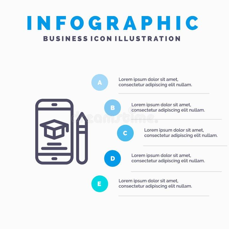 Nakrętka, edukacja, skalowanie, wisząca ozdoba, ołówek Kreskowa ikona z 5 kroków prezentacji infographics tłem ilustracja wektor