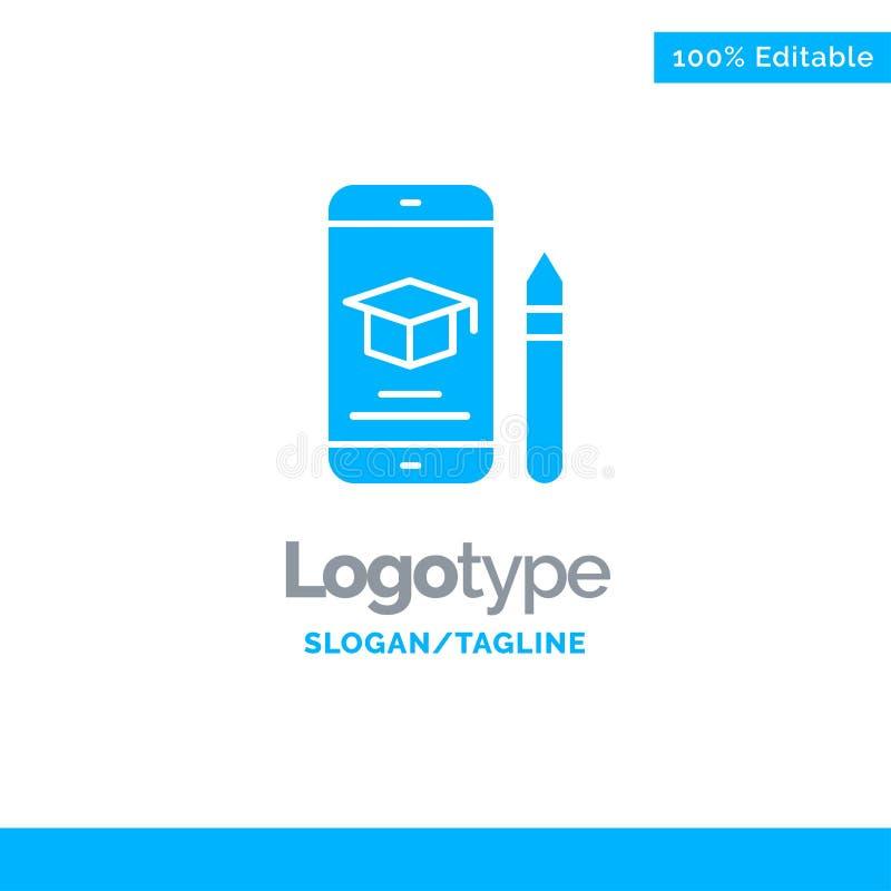 Nakrętka, edukacja, skalowanie, wisząca ozdoba, Ołówkowy Błękitny Stały logo szablon Miejsce dla Tagline ilustracja wektor