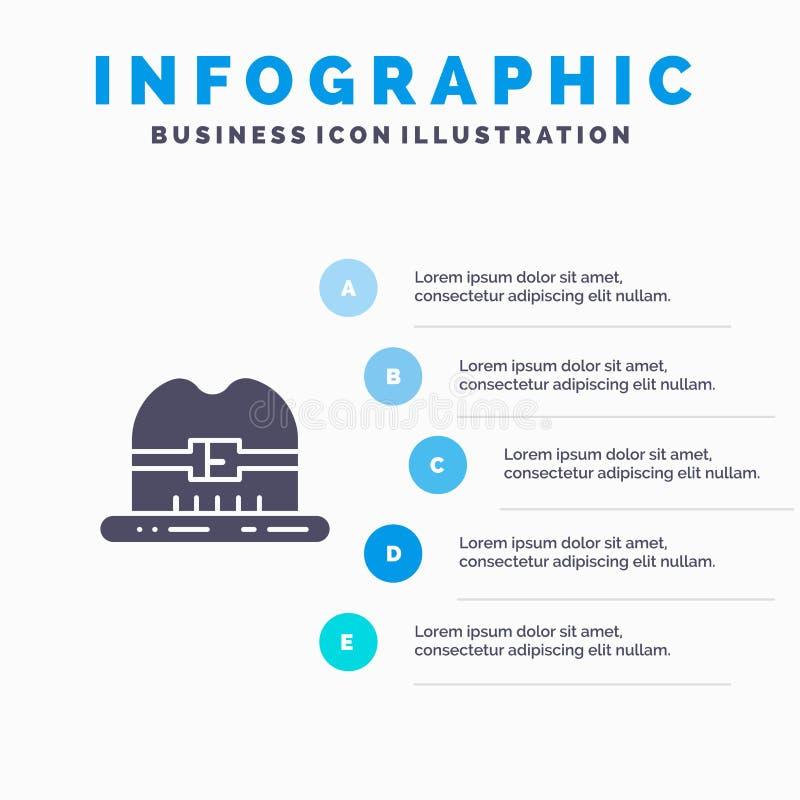 Nakrętka, kapelusz, Kanada ikony Infographics 5 kroków prezentacji Stały tło ilustracja wektor