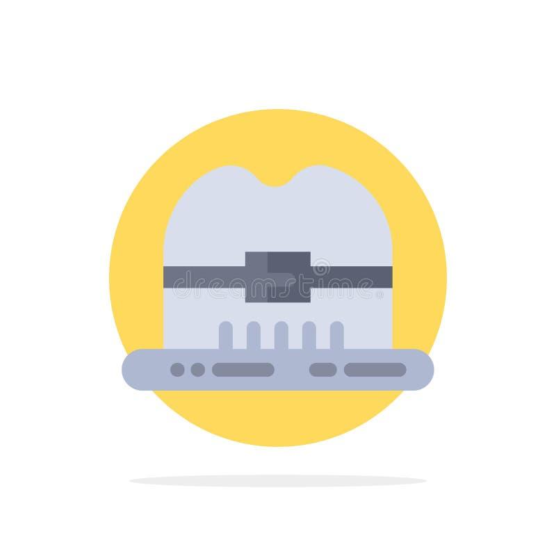 Nakrętka, kapelusz, Kanada okręgu Abstrakcjonistycznego tła koloru Płaska ikona ilustracja wektor
