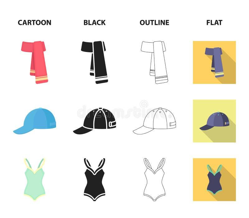 Nakrętka, kolczyki, kolia, swimsuit Odziewać ustalone inkasowe ikony w kreskówce, czerń, kontur, mieszkanie symbolu stylowy wekto ilustracja wektor