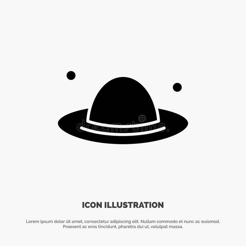 Nakrętka, moda, kapelusz, wiosna glifu ikony stały wektor ilustracja wektor