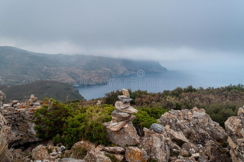 Nakrętka Norfeu, Naturalny park w Costa Brava catalonia zdjęcie stock