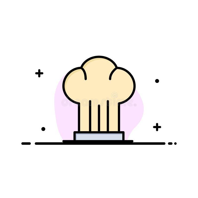 Nakrętka, szef kuchni, kuchenka, kapelusz, Restauracyjnego biznesu mieszkania ikony sztandaru linia Wypełniający Wektorowy szablo ilustracja wektor