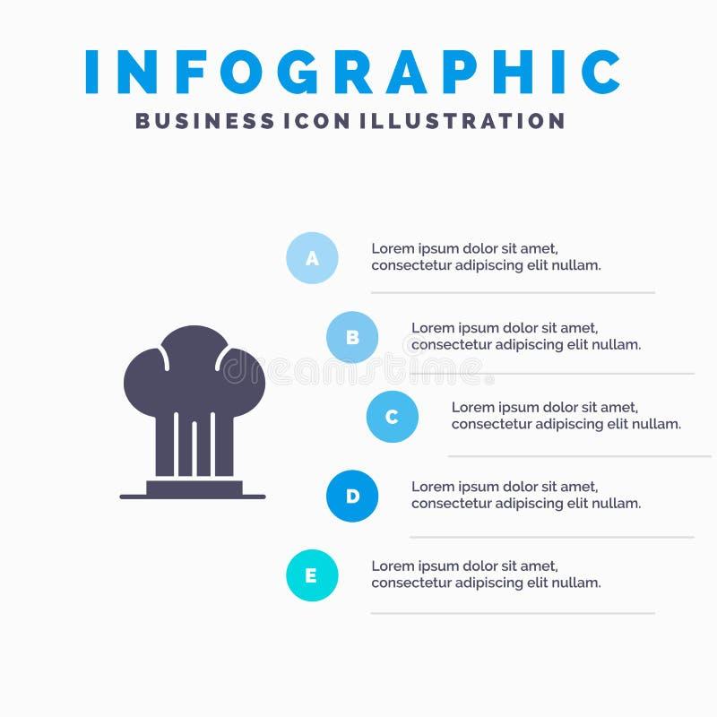 Nakrętka, szef kuchni, kuchenka, kapelusz, Restauracyjny Infographics prezentacji szablon 5 kroków prezentacja ilustracji