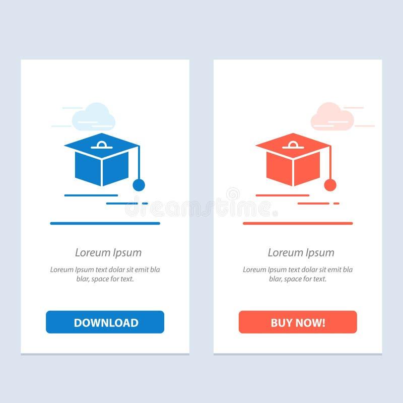 Nakrętki, edukacji, skalowania sieci Widget karty szablon, Błękitnej i Czerwonej ściągania i zakupu Teraz ilustracji