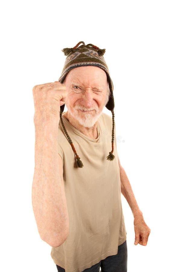 nakrętki pięści dzianiny mężczyzna seniora chwianie obraz royalty free