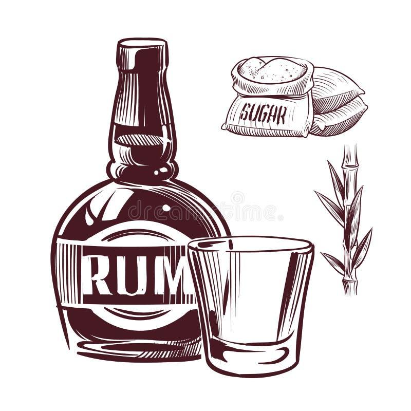 Nakreślenie rum Retro reklamowy rumowy alkoholu napoju szkło i butelka wręczamy patroszoną wektorową ilustrację royalty ilustracja