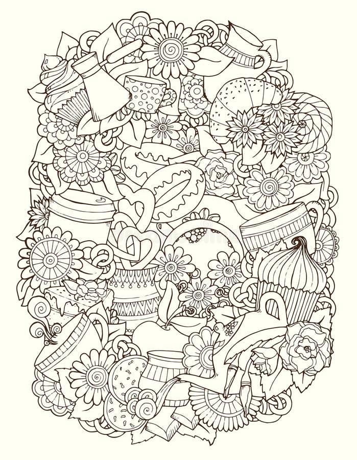 Nakreśleń Doodles Kawa, herbata, miłości tło ilustracja wektor