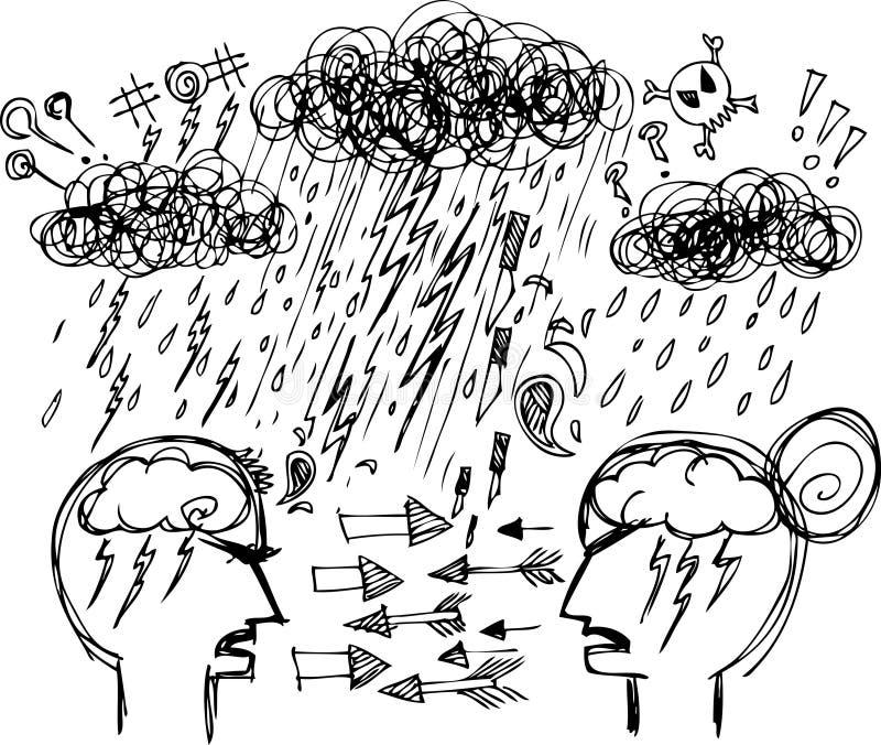 Nakreśleń Doodles: Pary Argumentowanie Zdjęcie Stock