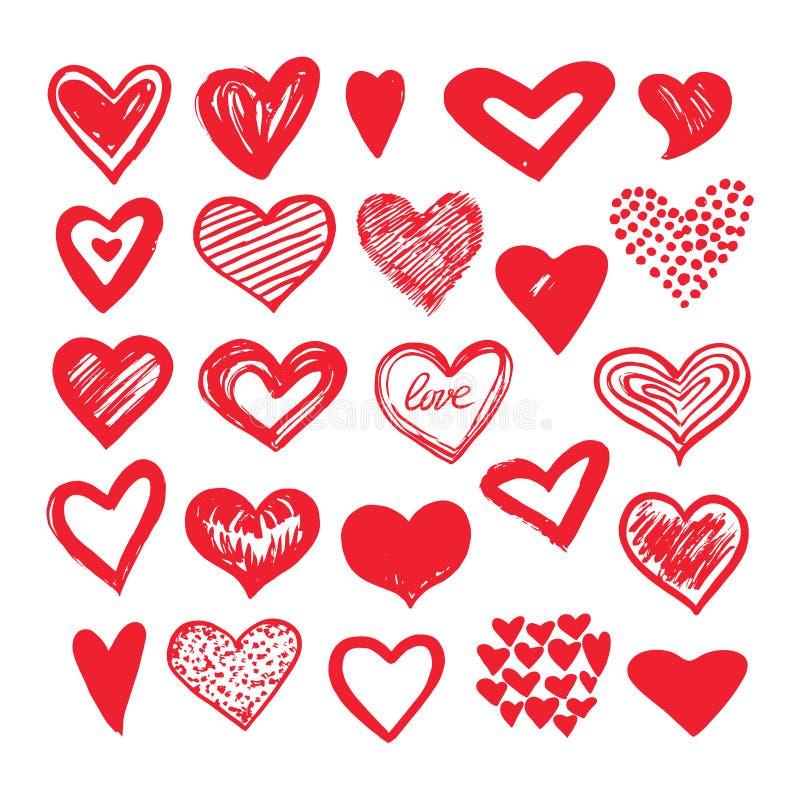 Nakreśleń serca Romantyczni doodle miłości elementy Hearted kształtów valentines dnia wektoru ikony ilustracja wektor