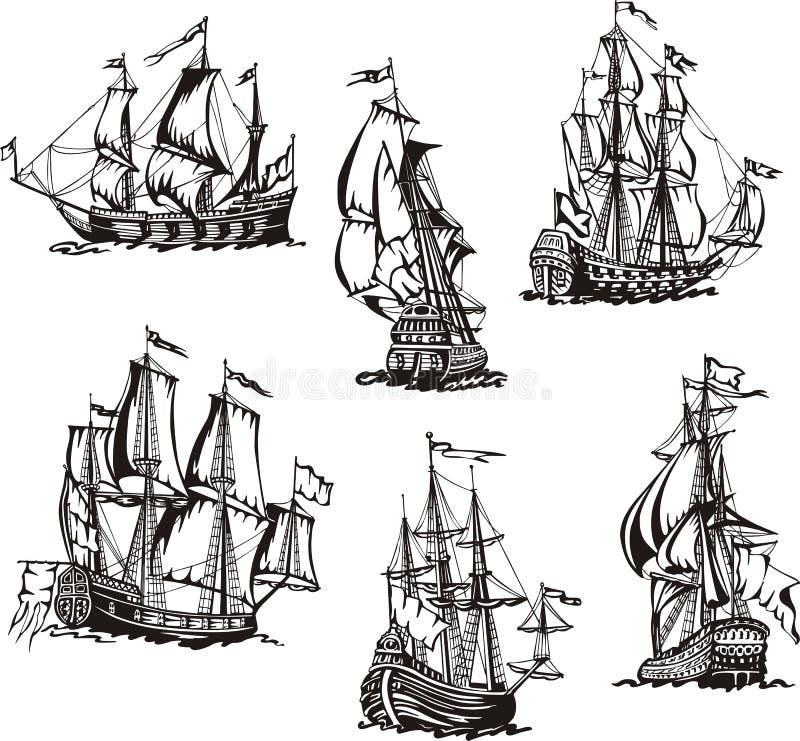 Nakreślenia żeglowanie statki ilustracja wektor