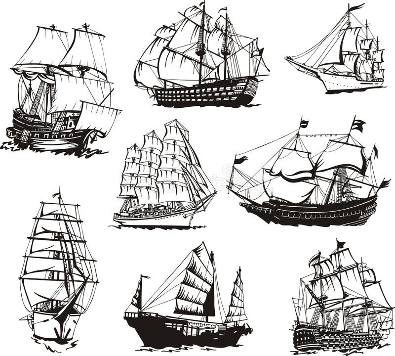 Nakreślenia żeglowanie statki royalty ilustracja