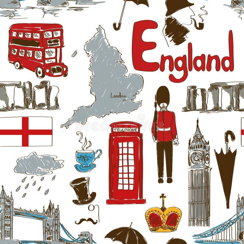 Nakreślenia Anglia bezszwowy wzór royalty ilustracja
