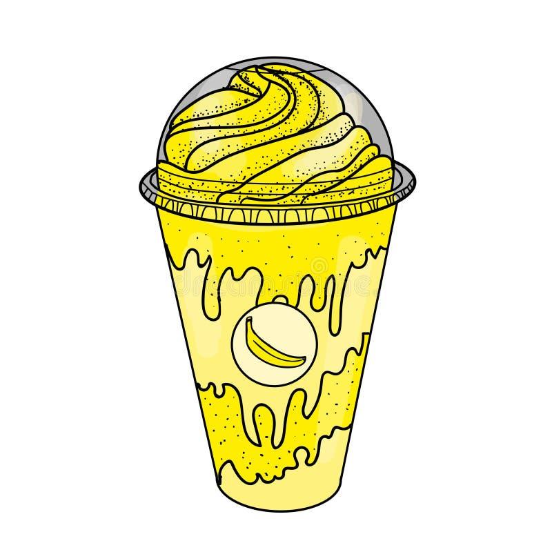 Nakreślenia bananowy potrząśnięcie z śmietanką ilustracji
