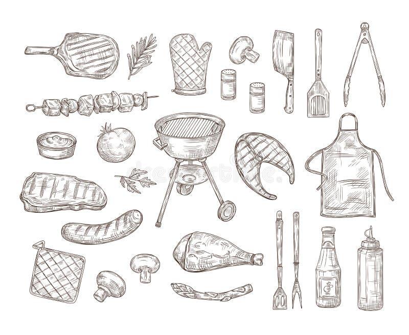 Nakreślenia bbq Grilla doodle rysunku grilla kurczaka kumberlandu stku grill piec na grillu warzywo smażący mięso piec kiełb ilustracja wektor