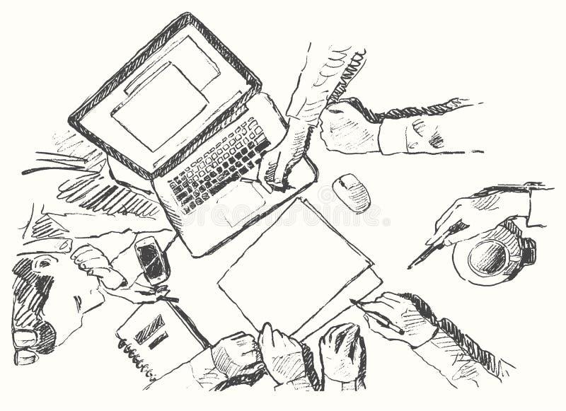Nakreślenia biznesowego spotkania uścisku dłoni odgórny widok rysujący ilustracji