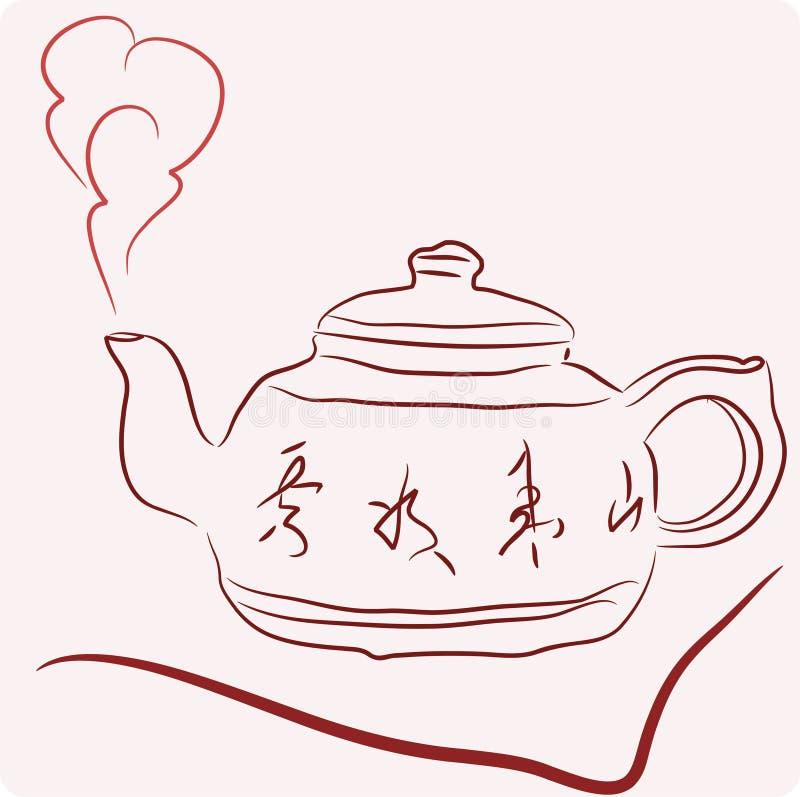 nakreślenia chiński teapot ilustracja wektor