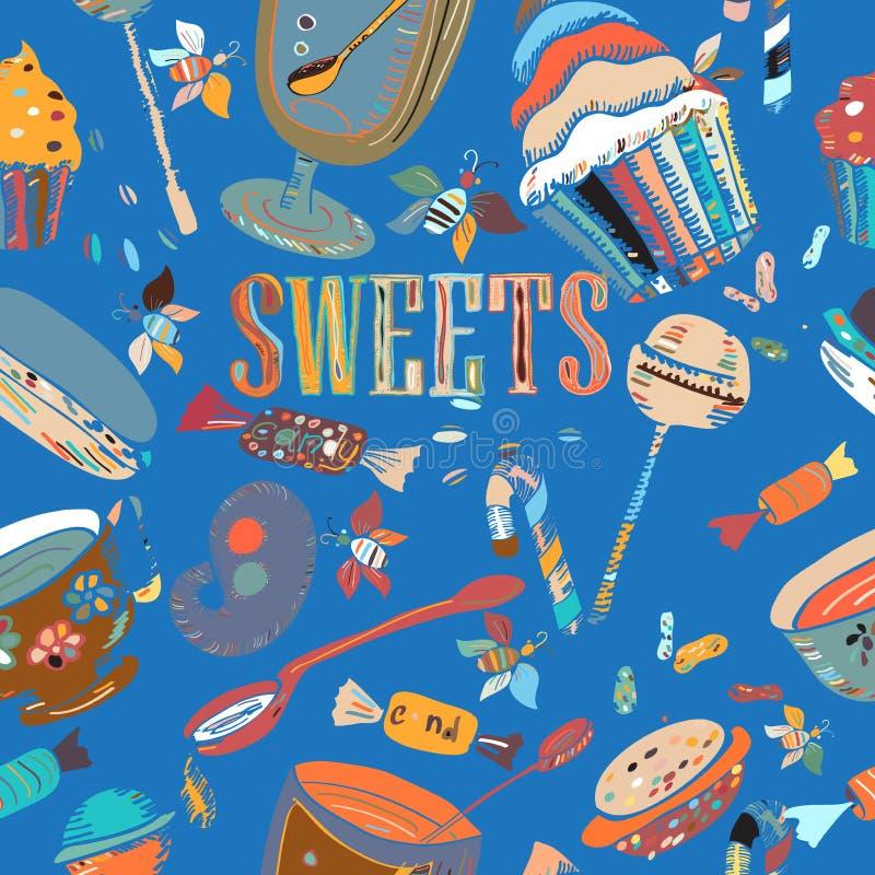 Nakreślenia cukierki, cukierek, herbata, kawa, miód, lizaki royalty ilustracja