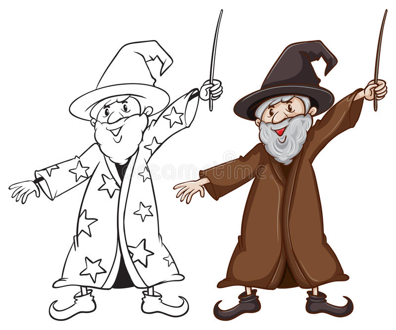Nakreślenia czarownik w dwa colours ilustracja wektor