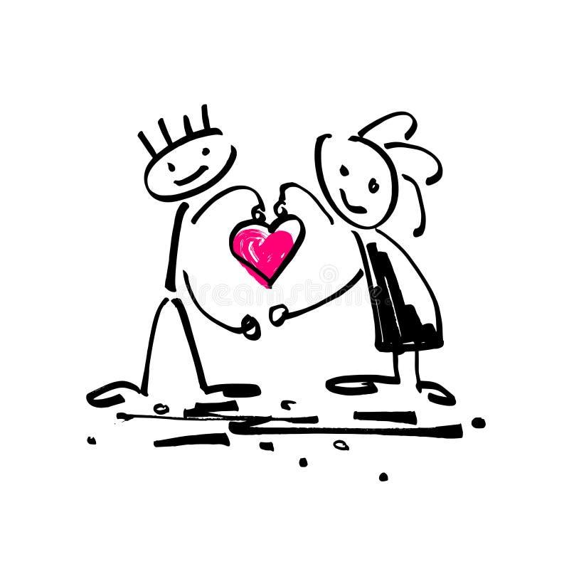 Nakreślenia doodle kija postaci ludzka para w miłości z sercem royalty ilustracja