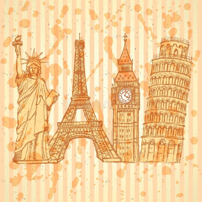 Nakreślenia Eifel wierza, Pisa wierza, Big Ben i statua wolności, v ilustracji