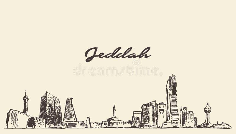 Nakreślenia Jeddah linii horyzontu wektorowa ilustracja rysująca ilustracji