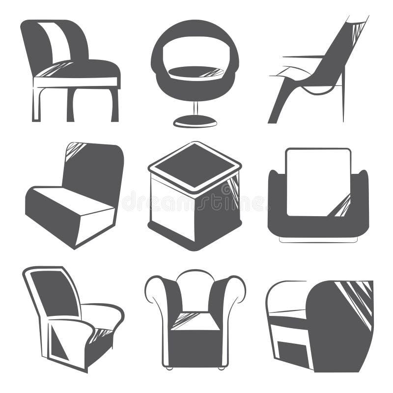 Nakreślenia krzesła ikony ilustracji