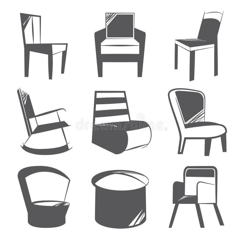 Nakreślenia krzesła ikony royalty ilustracja