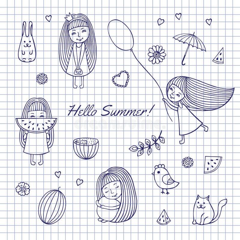 Nakreślenia lato Cześć royalty ilustracja
