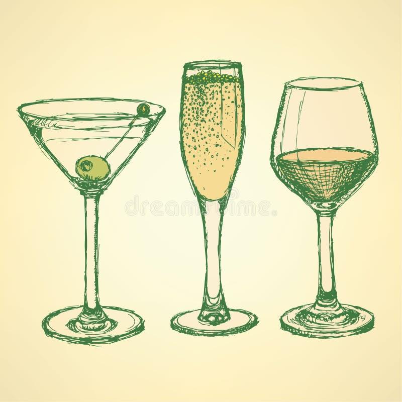 Nakreślenia Martini, szampana i wina szkło, royalty ilustracja