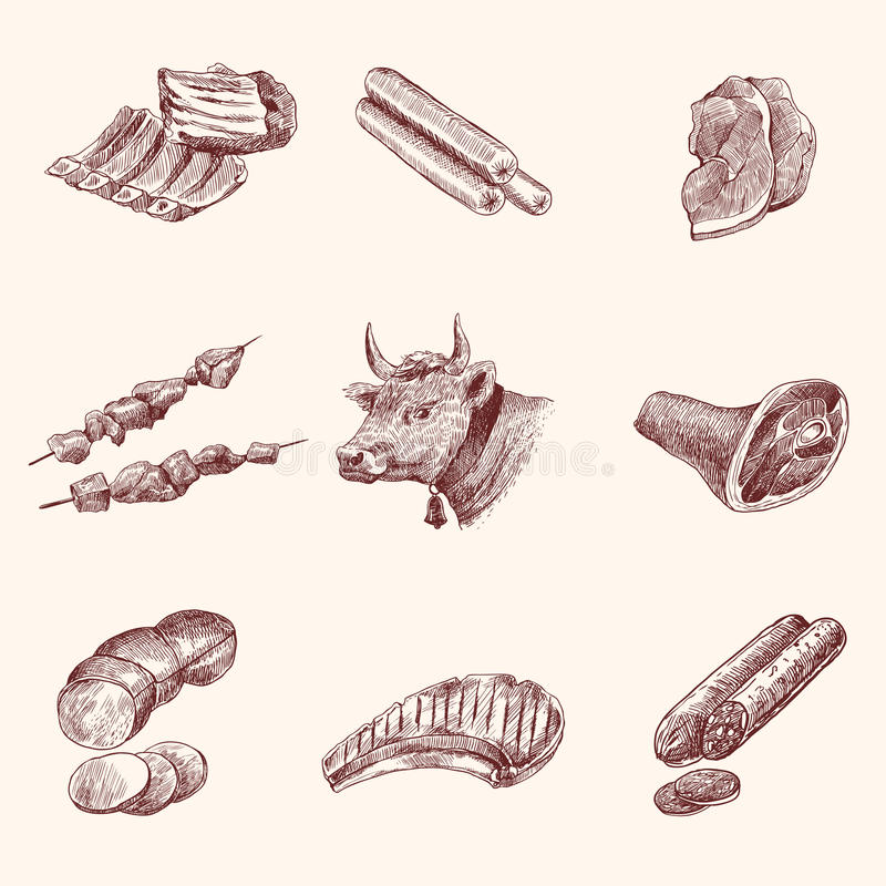 Nakreślenia mięsa ikony ilustracja wektor