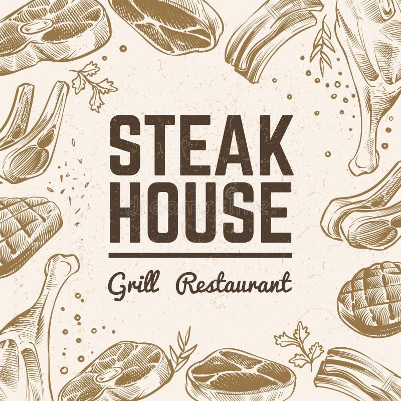 Nakreślenia mięsa tło Grilla jedzenia menu Rocznika bbq mięsna ręka rysujący wektorowy tło ilustracja wektor