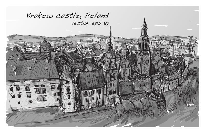 Nakreślenia miasta głąbika Polska Krakow kasztel góruje, wolna ręka remis ilustracji