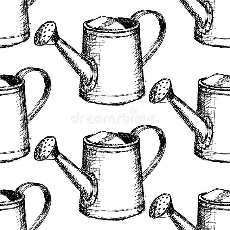 Nakreślenia podlewania puszka, wektorowy bezszwowy wzór ilustracji