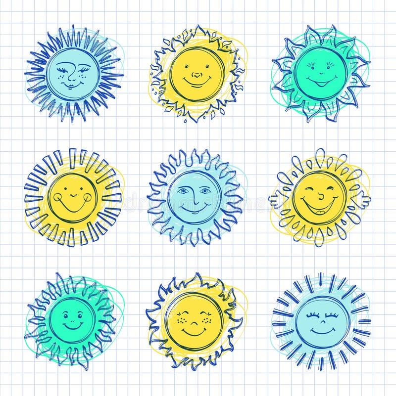 Nakreślenia słońce żartuje rysunek, ręki rysować światło słoneczne ikony, Śmieszni słońca ilustracja wektor