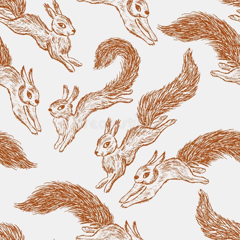Nakreślenia skokowe wiewiórki ilustracja wektor