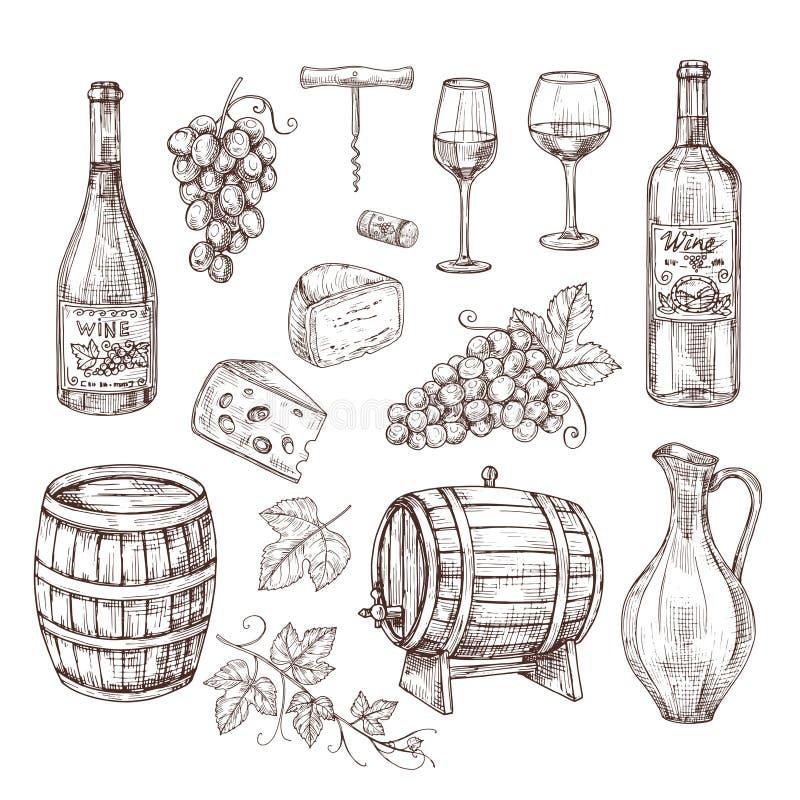 Nakreślenia wina set Winogrono, wino butelki i wineglass, baryłka Ręka rysujący roczników alkoholicznych napojów wektoru set royalty ilustracja