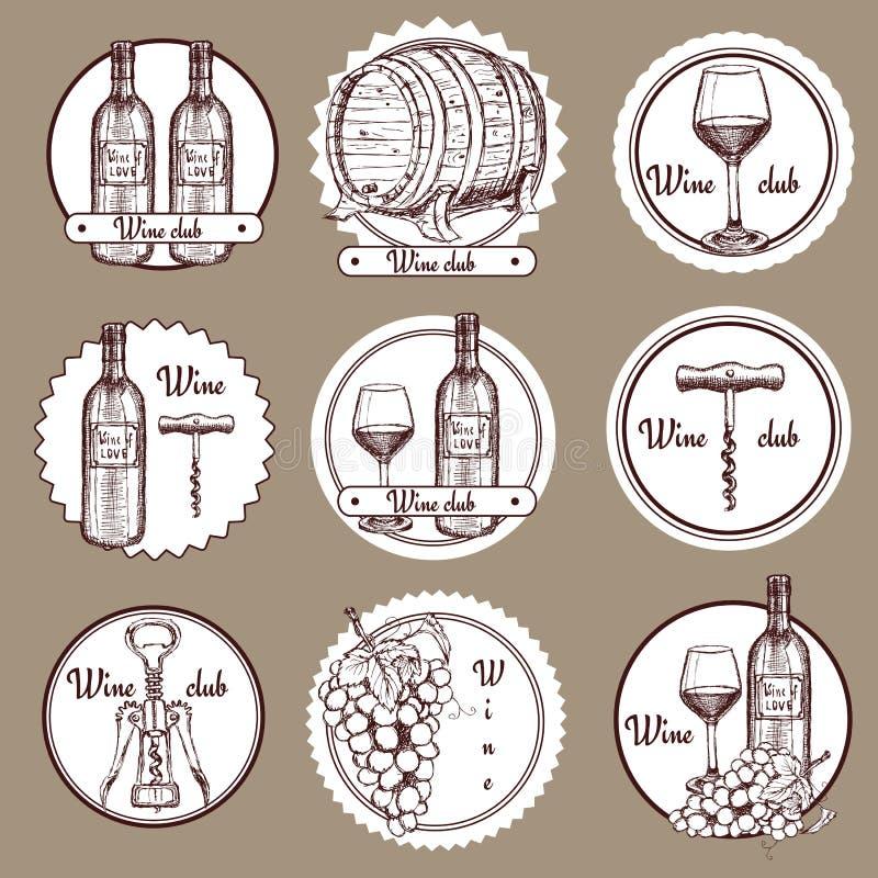 Nakreślenia wino ustawiający logowie ilustracja wektor