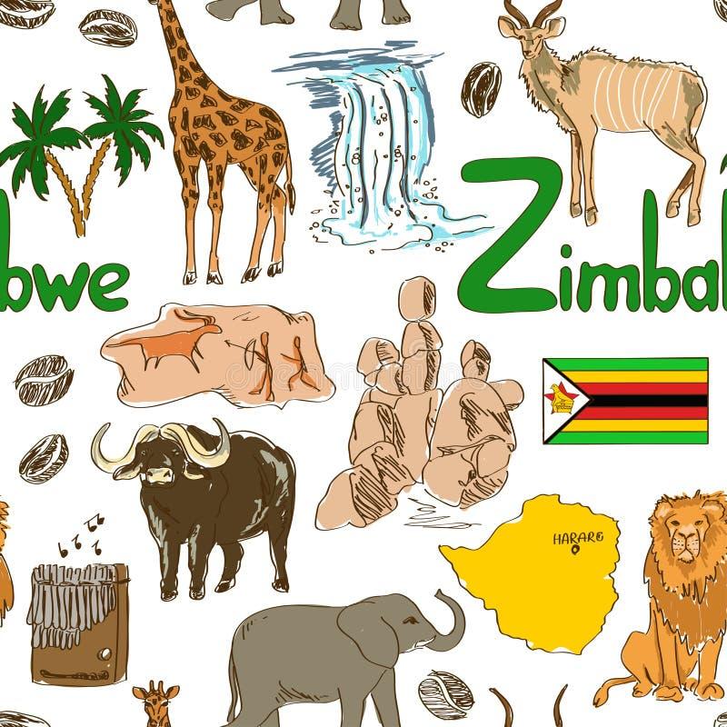 Nakreślenia Zimbabwe bezszwowy wzór royalty ilustracja