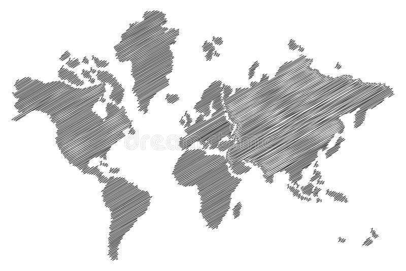 Nakreślenie światowa mapa ilustracji