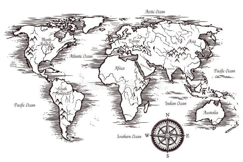 Nakreślenie Światowej mapy szablon royalty ilustracja