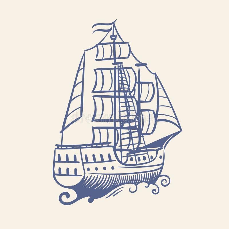 Nakreślenie żaglówka Rocznika średniowiecznego pirata działającego statku i fali nautycznej podróży wektorowy spławowy denny poję ilustracji