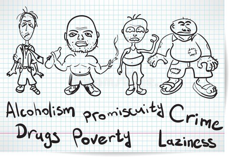 Nakreślenie alkoholiczki, narkomany i bezdomny, ilustracji
