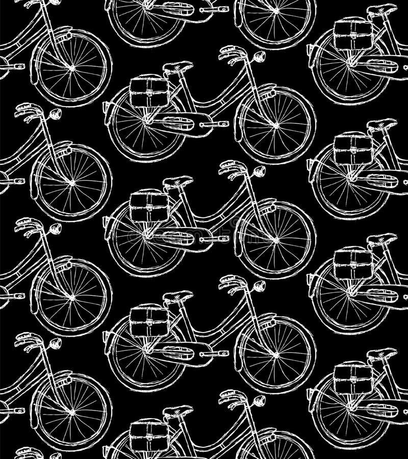 Nakreślenie bicykl, rocznika bezszwowy wzór ilustracja wektor
