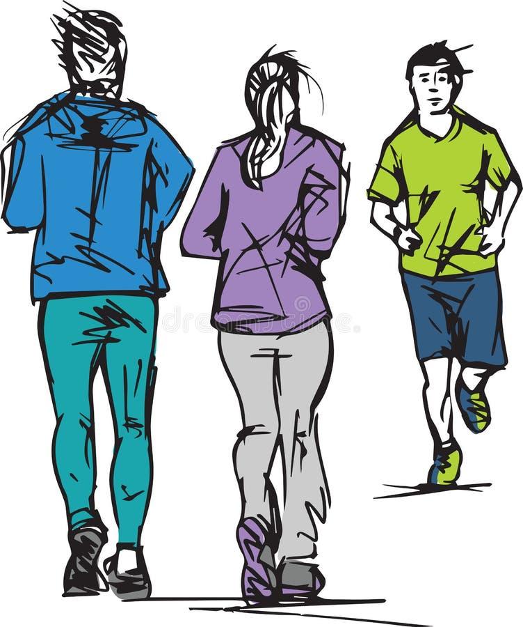 Nakreślenie biegacze Przechodzi Each Inny ilustracja wektor
