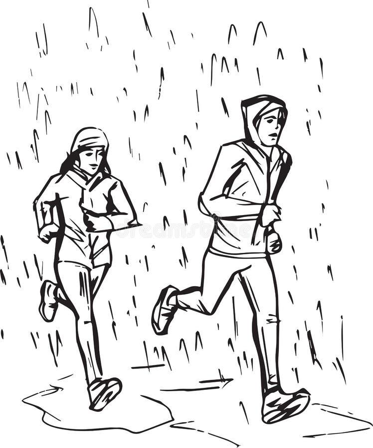 Nakreślenie biegacze w deszczu royalty ilustracja