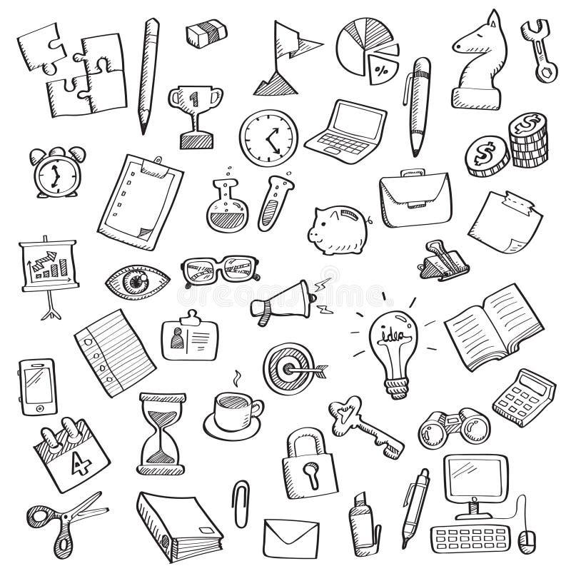 Nakreślenie biznesowy symbol i biurowe dostawy ilustracja wektor