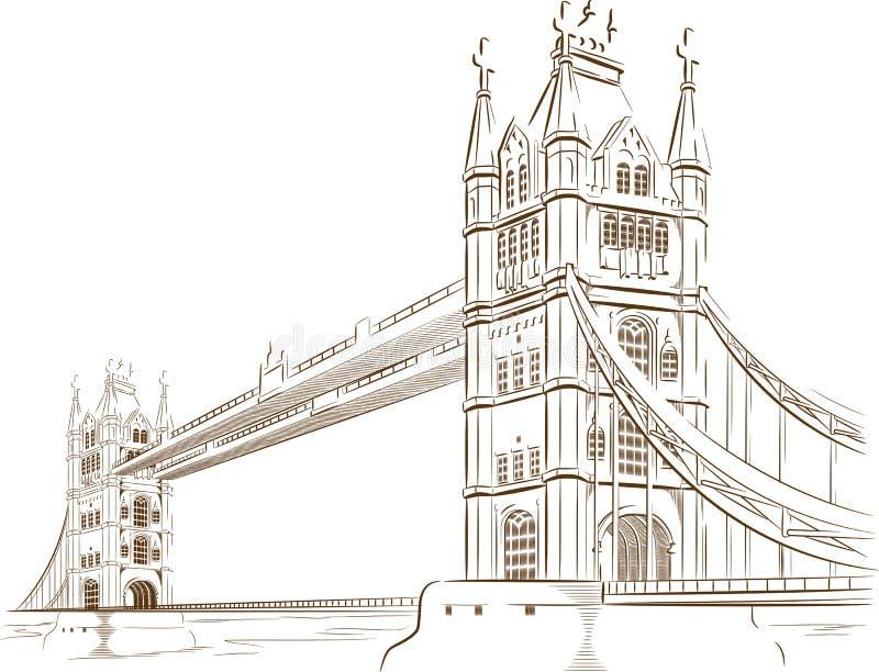 Nakreślenie Brytyjski turystyka punkt zwrotny - Londyn most ilustracja wektor