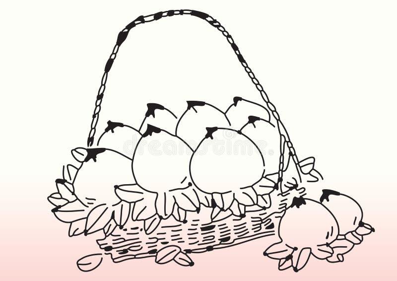 Nakreślenie brzoskwinie w koszu royalty ilustracja